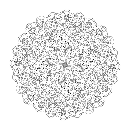 Round element for coloring book. Black and white floral pattern. Mandala. Illustration