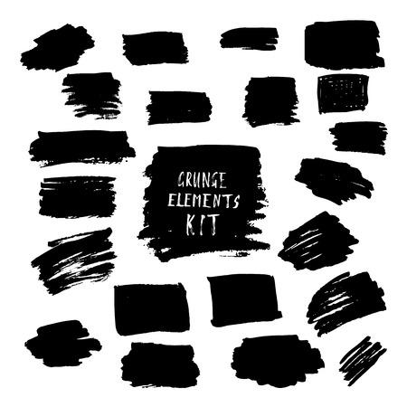 daub: Black ink spots kit. Set of grunge hand drawn elements for design. Vector illustration.