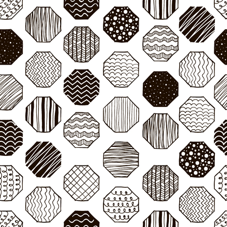 textiles: Seamless pattern with geometric figures. Black and white background. Good for textile and wrapping design. Vector illustration.