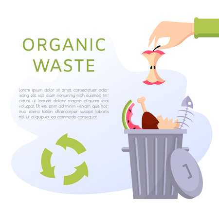 Organic waste vector illustration. Food garbage - apple stump, fish bones, eggshell, meat, watermelon. Recycling ecology problem isolate on white background objects collection. Иллюстрация