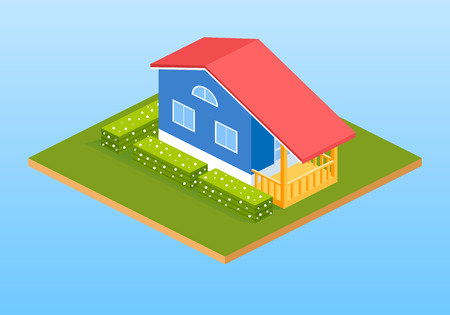 Private country house, cottages with bushes. Isometric 3d building. Vector illustration.
