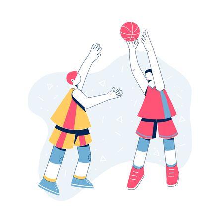Men playing basketball concept. Vector illustration.