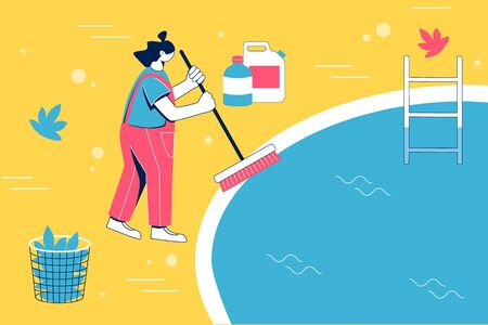 Pool maintenance concept. Woman cleaning pool with brush. Vector illustration.