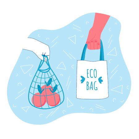 Zero waste ecology concept. Vector illustration. Household goods. Hands with eco shopper bag and string bag. Ilustracja