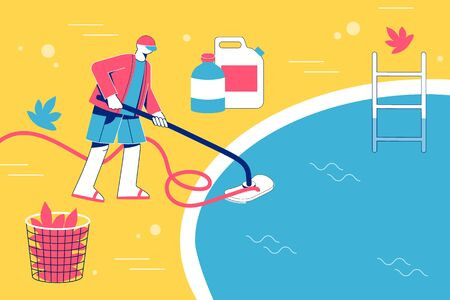 Pool maintenance concept. Man cleaning pool with vacuum. Stock Illustratie
