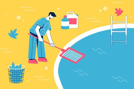 Pool maintenance concept. Man cleaning pool with skimmer. Vector illustration.