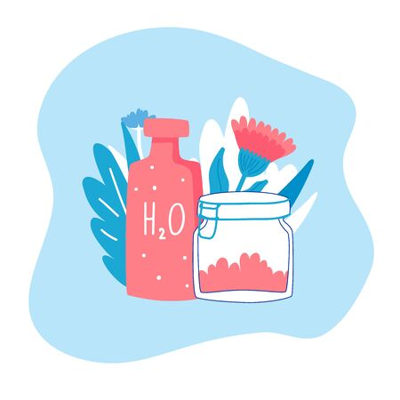 Zero waste ecology concept. Vector illustration. Household goods.