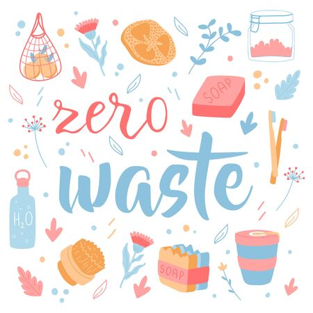 Zero waste concept. Lettering with hand drawn design elements. Household goods. Ilustração