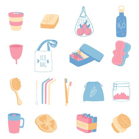 Zero waste household goods set. Vector illustration. Ilustração