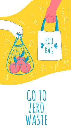 Zero waste ecology concept. Vector illustration. Shopper bags.