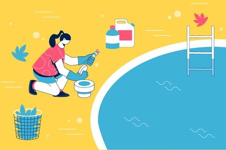 Pool maintenance concept. Woman cleaning pool with chemistry. Vector illustration.
