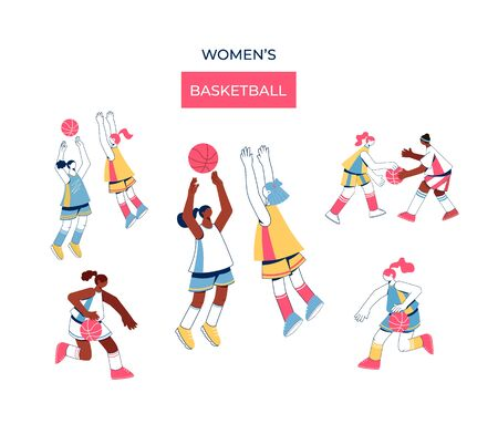Women playing basketball collection. Sport concept. Vector illustration.
