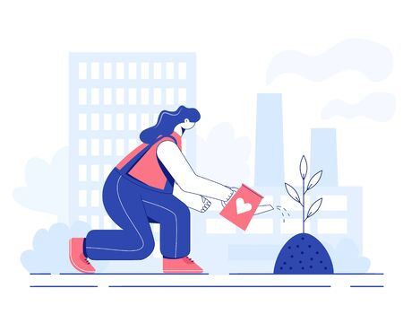 Tree planting concept. Woman is watering a seeding. Vector illustration.  Illustration