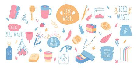 Zero waste elements set. Household goods, shopper bags and hygiene items. Hand drawn style. Ilustração