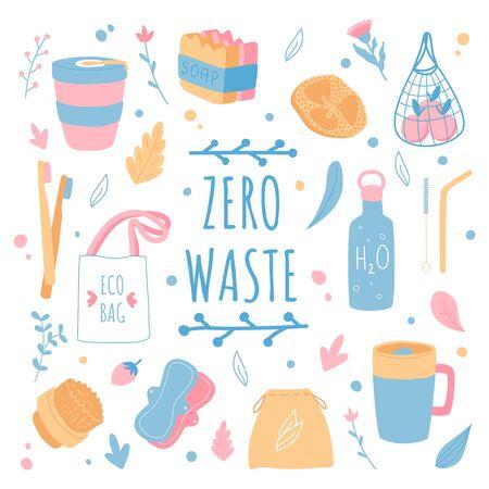 Zero waste poster design. Ecology concept. Household goods. Ilustração