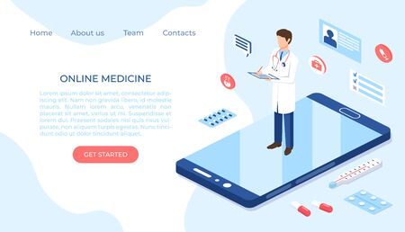 Online medicine healthcare isometric illustration. Web design vector template.