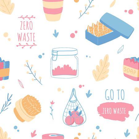 Zero waste pattern. Household objects. Food and drinks. Ilustração