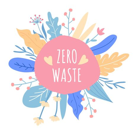 Zero waste concept. Lettering with hand drawn design elements. Household goods.