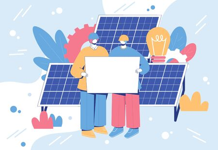 Alternative energy engineering concept. Workers with solar panels. Vector illustration.