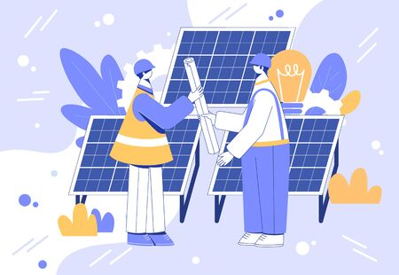 Alternative energy engineering concept. Workers with solar panels. Vector illustration.  Çizim
