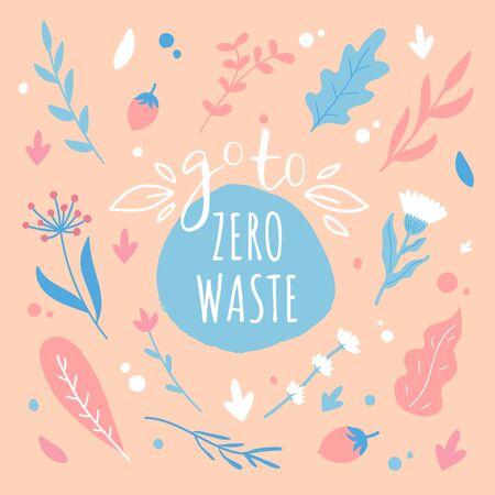 Zero waste concept. Lettering with hand drawn design elements. Household goods. Ilustração