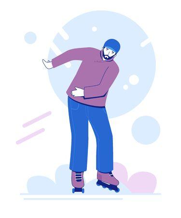 Roller skating young man. Man rollerblading. Extreme sport. Vector illustration.  Ilustracja