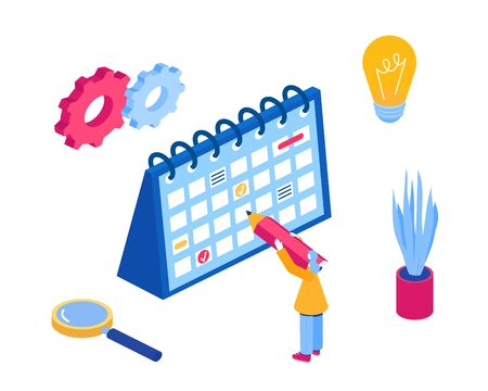 Time management concept. Vector illustration. Isometric style.