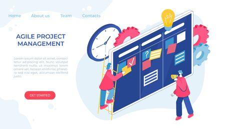 Agile project management process. Communication, teamwork, business process. Vektorové ilustrace