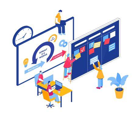 Agile project management process. Communication, teamwork, business process. Vektorgrafik