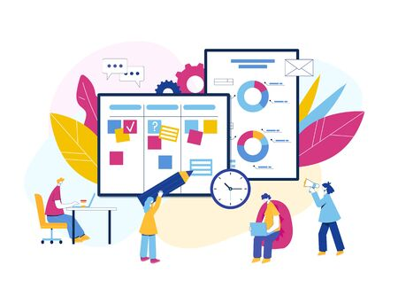 Agile project management process. Communication, teamwork, business process. Employees consult, work at the computer, plan the workflow, program and communicate. Kanban board. Scrum master. Agile methodology.
