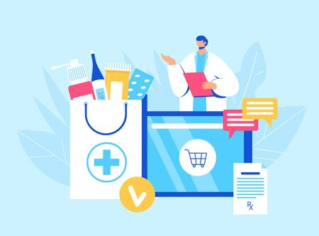 Online pharmacy concept. Pharmacist helps to collect an order on the site. Gadget with medicine shopping bag. Vector illustration Vetores