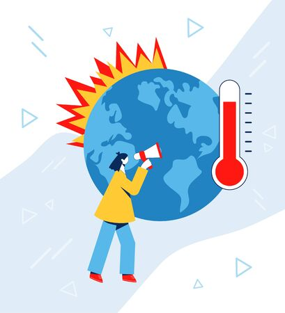 Climate change concept. Earth warming, forest fires, woman with megaphone protesting against climate change. Vector illustration.