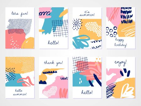 Abstract colourful collage backgrounds set. Hand drawn templates for card, flyer and invitation design. Vector illustration.