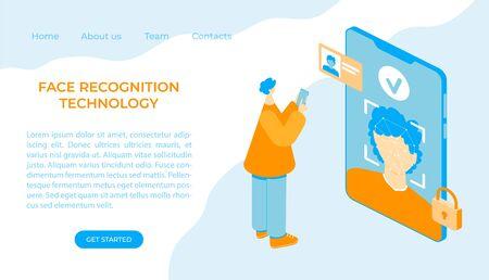 Face recognition concept. Man face scanning with smartphone app. AI algorithms. Vector isometric illustration. Landing page. Vektoros illusztráció