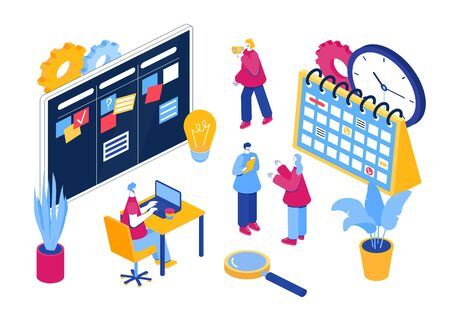 Agile project management process. Communication, teamwork, business process. Employees consult, work at the computer, plan the workflow, program and communicate. Isometric illustration.