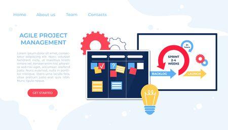 Agile project management. Communication, teamwork, business process. Kanban board. Vector illustration.