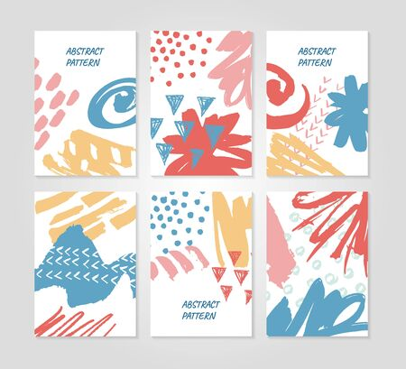 Abstract colourful collage backgrounds set. Hand drawn templates for card, flyer and invitation design.