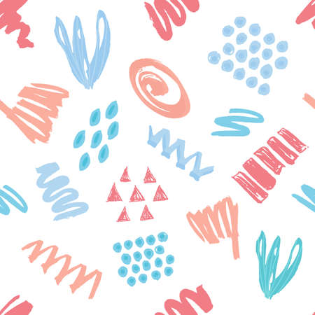 Collage seamless pattern. Colorful vector illustration. Hand drawn artistic background.