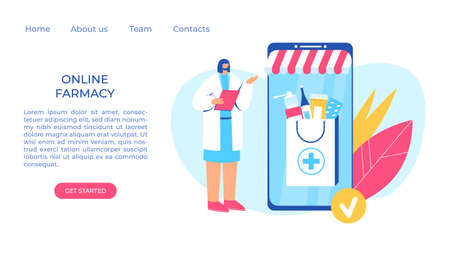 Online pharmacy concept. Pharmacist helps to collect an order on the site. Gadget with medicine shopping bag. Vector illustration. 写真素材 - 150633176