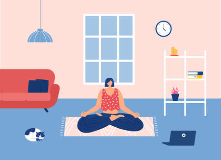 Home workout concept. Woman doing yoga exercises at home with laptop tutorials. Vector illustration.