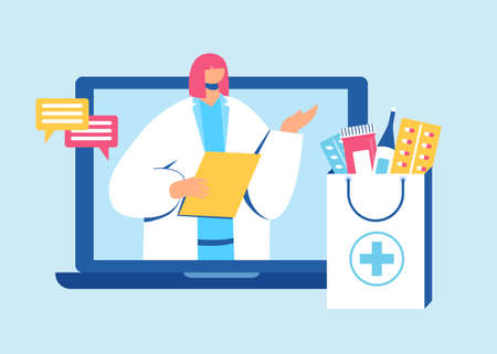 Online pharmacy concept. Pharmacist helps to collect an order on the site. Gadget with medicine shopping bag. Vector illustration. 写真素材 - 150638692