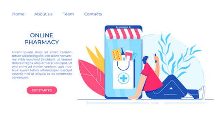 Online pharmacy concept. woman makes an order in a pharmacy using a smartphone. Gadget with medicine shopping bag. Vector illustration