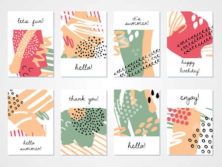 Abstract hand drawn colourful backgrounds set. Vector illustration.