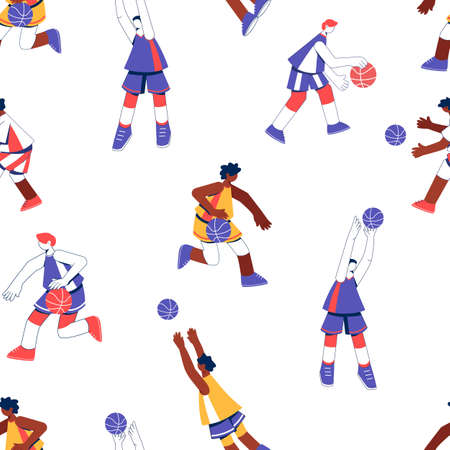 Basketball seamless pattern. Isolated flat characters on white background.