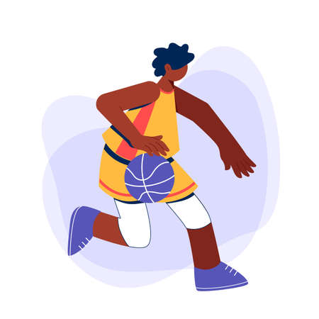 African boy playing basketball concept. Young man training dribble. 일러스트