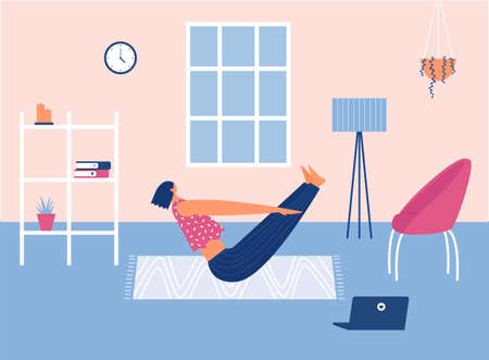 Home workout concept. Vector illustration. Stay home.