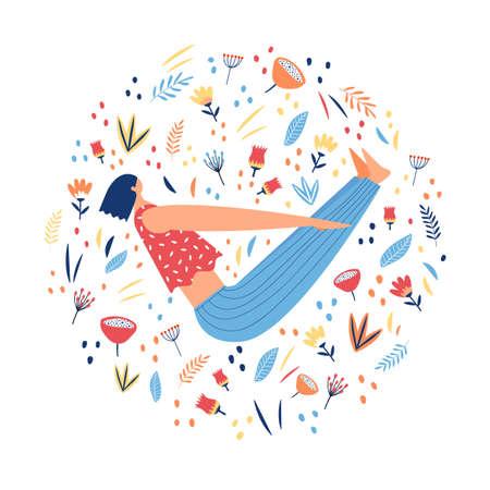 Girl doing yoga. Floral circular print. Vector illustration. Illustration