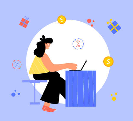 Happy woman sitting at the laptop. Vector illustration.
