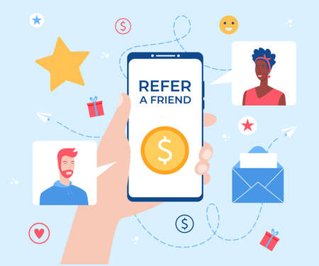 Refer a friend concept. Smartphone with gift box in hand.