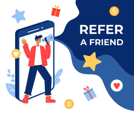 Refer a friend concept. Guy with megaphone.